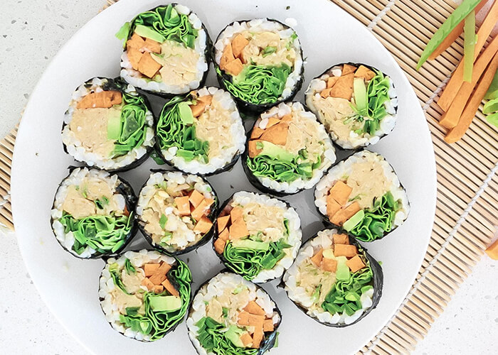 A plate of chickpea tuna sushi