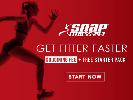 Snap Fitness, $0 joining fee, free starter pack. Get fitter faster.