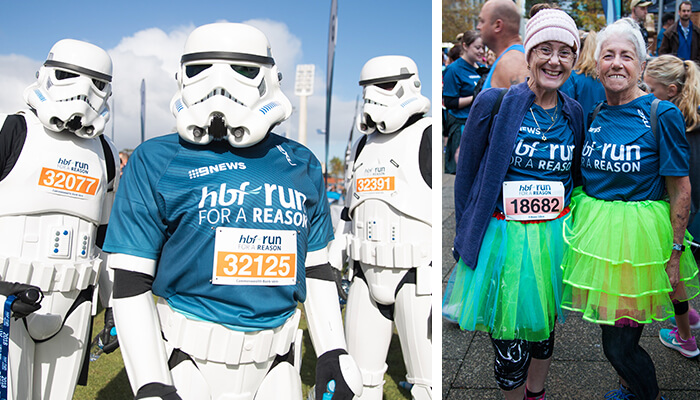 The photo on the left shows three people dressed up as Stormtroopers at HBF Run for a Reason. To the right is a photo of two ladies dressed in colourful tutus at HBF Run for a Reason.